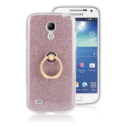 Luxury Soft TPU Glitter Back Ring Cover with 360 Rotate Finger Holder Buckle for Samsung Galaxy S4 Mini i9190 - Pink