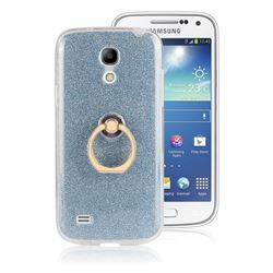 Luxury Soft TPU Glitter Back Ring Cover with 360 Rotate Finger Holder Buckle for Samsung Galaxy S4 Mini i9190 - Blue