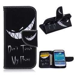 Crooked Grin Leather Wallet Case for Samsung Galaxy S4 mini i9190 I9192 I9195