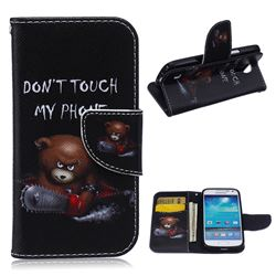 Chainsaw Bear Leather Wallet Case for Samsung Galaxy S4 mini i9190 I9192 I9195