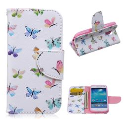Colored Butterflies Leather Wallet Case for Samsung Galaxy S4 mini i9190 I9192 I9195