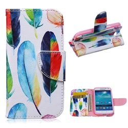 Colored Feather Leather Wallet Case for Samsung Galaxy S4 mini i9190 I9192 I9195