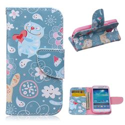 Loving Cat Leather Wallet Case for Samsung Galaxy S4 mini i9190 I9192 I9195