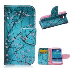 Blue Plum Leather Wallet Case for Samsung Galaxy S4 mini i9190 I9192 I9195