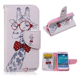 Glasses Giraffe Leather Wallet Case for Samsung Galaxy S4 mini i9190 I9192 I9195