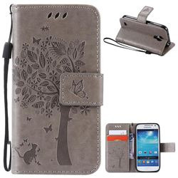 Embossing Butterfly Tree Leather Wallet Case for Samsung Galaxy S4 Mini - Grey