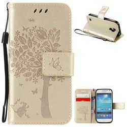 Embossing Butterfly Tree Leather Wallet Case for Samsung Galaxy S4 Mini - Champagne