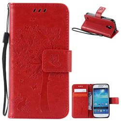Embossing Butterfly Tree Leather Wallet Case for Samsung Galaxy S4 Mini - Red