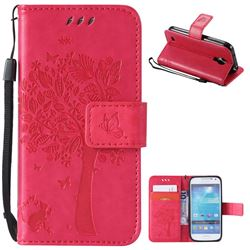 Embossing Butterfly Tree Leather Wallet Case for Samsung Galaxy S4 Mini - Rose