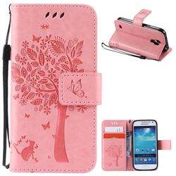 Embossing Butterfly Tree Leather Wallet Case for Samsung Galaxy S4 Mini - Pink