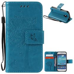 Embossing Butterfly Tree Leather Wallet Case for Samsung Galaxy S4 Mini - Blue