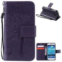 Embossing Butterfly Tree Leather Wallet Case for Samsung Galaxy S4 Mini - Purple