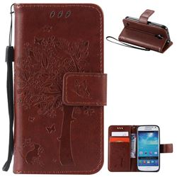 Embossing Butterfly Tree Leather Wallet Case for Samsung Galaxy S4 Mini - Brown