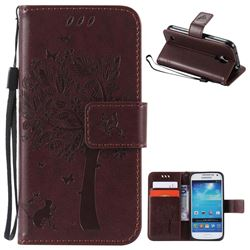 Embossing Butterfly Tree Leather Wallet Case for Samsung Galaxy S4 Mini - Coffee