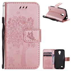 Embossing Butterfly Tree Leather Wallet Case for Samsung Galaxy S4 Mini i9190 - Rose Pink