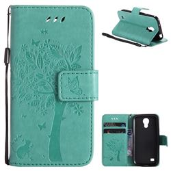 Embossing Butterfly Tree Leather Wallet Case for Samsung Galaxy S4 Mini i9190 - Cyan