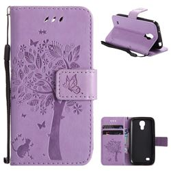 Embossing Butterfly Tree Leather Wallet Case for Samsung Galaxy S4 Mini i9190 - Violet