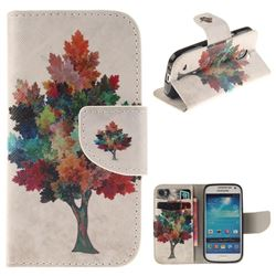 Colored Tree PU Leather Wallet Case for Samsung Galaxy S4 Mini i9190