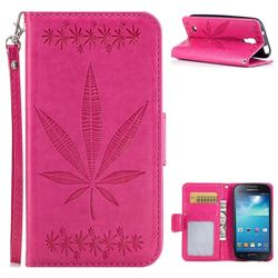 Intricate Embossing Maple Leather Wallet Case for Samsung Galaxy S4 Mini i9190 - Rose