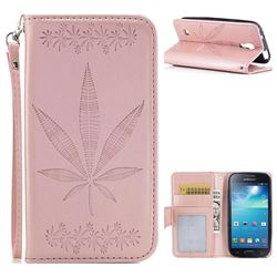 Intricate Embossing Maple Leather Wallet Case for Samsung Galaxy S4 Mini i9190 - Rose Gold