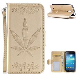 Intricate Embossing Maple Leather Wallet Case for Samsung Galaxy S4 Mini i9190 - Champagne