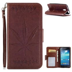 Intricate Embossing Maple Leather Wallet Case for Samsung Galaxy S4 Mini i9190 - Brown