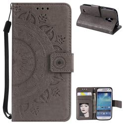 Intricate Embossing Datura Leather Wallet Case for Samsung Galaxy S4 Mini i9190 - Gray