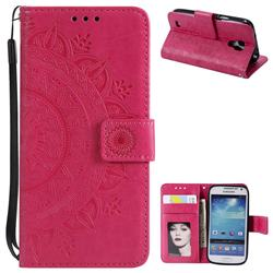 Intricate Embossing Datura Leather Wallet Case for Samsung Galaxy S4 Mini i9190 - Rose Red
