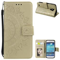 Intricate Embossing Datura Leather Wallet Case for Samsung Galaxy S4 Mini i9190 - Golden