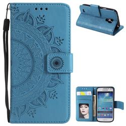Intricate Embossing Datura Leather Wallet Case for Samsung Galaxy S4 Mini i9190 - Blue