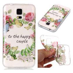 Green Leaf Rose Super Clear Soft TPU Back Cover for Samsung Galaxy S5 G900