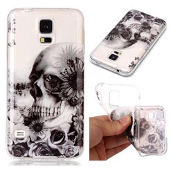 Black Flower Skull Super Clear Soft TPU Back Cover for Samsung Galaxy S5 G900