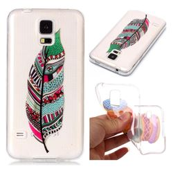Green Feathers Super Clear Soft TPU Back Cover for Samsung Galaxy S5 G900
