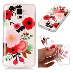 Painting Flowers Super Clear Soft TPU Back Cover for Samsung Galaxy S5 G900
