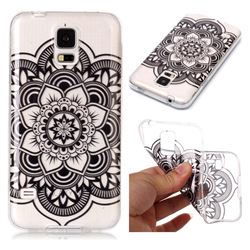 Black Mandala Flower Super Clear Soft TPU Back Cover for Samsung Galaxy S5 G900