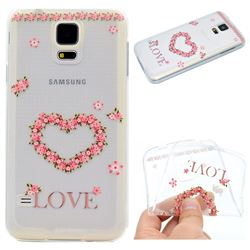 Heart Garland Super Clear Soft TPU Back Cover for Samsung Galaxy S5 G900