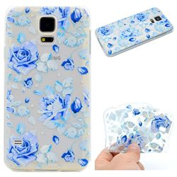 Ice Rose Super Clear Soft TPU Back Cover for Samsung Galaxy S5 G900