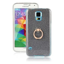 Luxury Soft TPU Glitter Back Ring Cover with 360 Rotate Finger Holder Buckle for Samsung Galaxy S5 G900 - Black