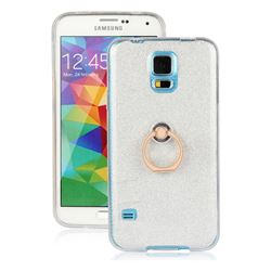 Luxury Soft TPU Glitter Back Ring Cover with 360 Rotate Finger Holder Buckle for Samsung Galaxy S5 G900 - White