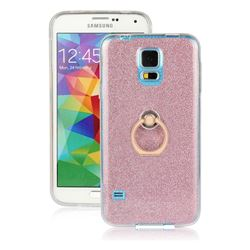 Luxury Soft TPU Glitter Back Ring Cover with 360 Rotate Finger Holder Buckle for Samsung Galaxy S5 G900 - Pink