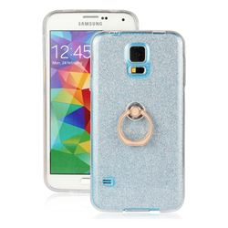 Luxury Soft TPU Glitter Back Ring Cover with 360 Rotate Finger Holder Buckle for Samsung Galaxy S5 G900 - Blue