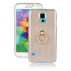 Luxury Soft TPU Glitter Back Ring Cover with 360 Rotate Finger Holder Buckle for Samsung Galaxy S5 G900 - Golden