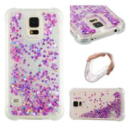 Dynamic Liquid Glitter Sand Quicksand Star TPU Case for Samsung Galaxy S5 G900 - Rose