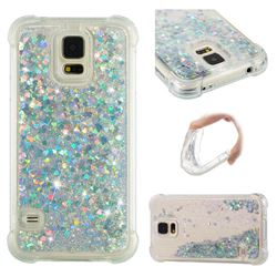 Dynamic Liquid Glitter Sand Quicksand Star TPU Case for Samsung Galaxy S5 G900 - Silver