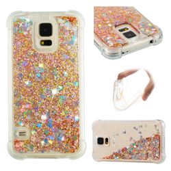 Dynamic Liquid Glitter Sand Quicksand Star TPU Case for Samsung Galaxy S5 G900 - Diamond Gold