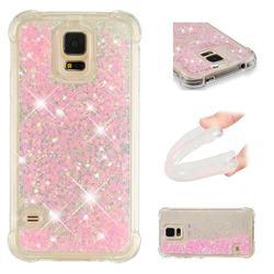 Dynamic Liquid Glitter Sand Quicksand TPU Case for Samsung Galaxy S5 G900 - Silver Powder Star