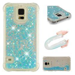 Dynamic Liquid Glitter Sand Quicksand TPU Case for Samsung Galaxy S5 G900 - Silver Blue Star