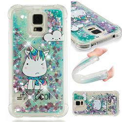 Tiny Unicorn Dynamic Liquid Glitter Sand Quicksand Star TPU Case for Samsung Galaxy S5 G900