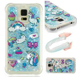 Fashion Unicorn Dynamic Liquid Glitter Sand Quicksand Star TPU Case for Samsung Galaxy S5 G900