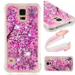 Pink Cherry Blossom Dynamic Liquid Glitter Sand Quicksand Star TPU Case for Samsung Galaxy S5 G900